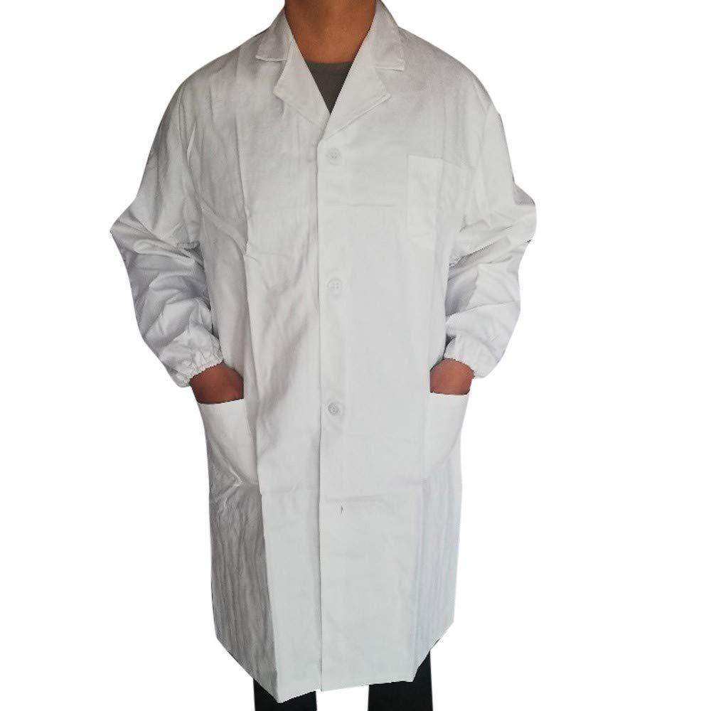 Women Men Unisex Lab Coat Long Sleeve White Outwear Long Coat Blouse with Pockets Wenini Lab Coat