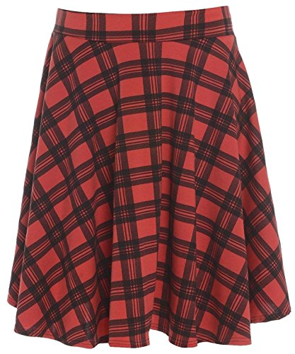 New Womens Plus Size Tartan Check Block Stretch Band Flared Skater Skirts (16, Red)