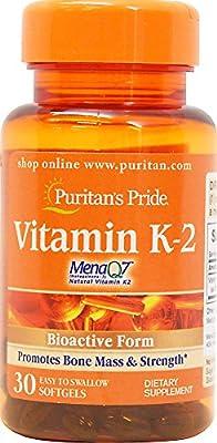 Puritan's Pride Vitamin K-2 (MenaQ7) 100 mcg-30 Softgels