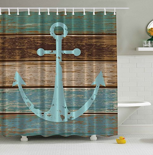ABxinyoule Anchor Shower Curtain Nautical Blue Rustic Wood