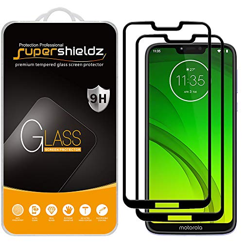 (2 Pack) Supershieldz for Motorola (Moto G7 Power) Tempered Glass Screen Protector, (Full Screen Coverage) Anti Scratch, Bubble Free (Black) (Screen For Motorola Phone)