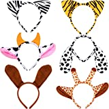 6 Pieces Jungle Headbands Plush Zoo Animal Ears Headbands for Animal Costumes