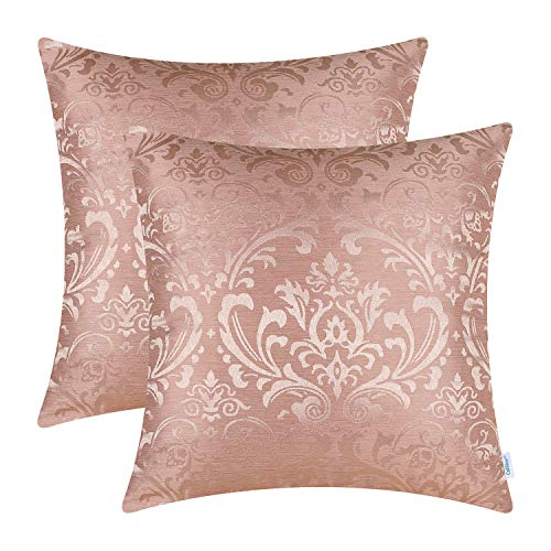 CaliTime Pack of 2 Throw Pillow Covers Cases for Couch Sofa Home Decoration Vintage Damask Floral Shining & Dull Contrast 18 X 18 Inches Dusty Pink]()