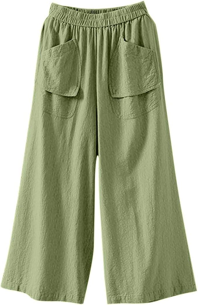 cinnamou Pantalones Mujer, Casual Pantalones De Lino Y Algodon Talla Grande Color SóLido Bolsillo Pantalon Bombacho PantalóN Holgado: Amazon.es: Ropa y accesorios