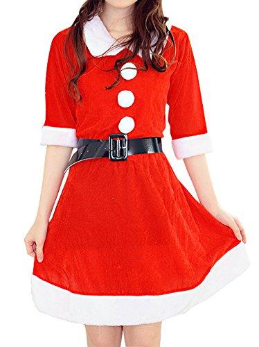 [Womens Velvet Santa Christmas Costume Half Sleeves Cosplay Dance Dress Red 3] (Dance Hire Costumes)