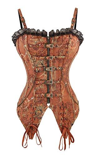 Bone Corset Bustiers (Killreal Women's Victorian Steampunk Steel Boned Overbust Corset Bustier Top Brown X-Large)