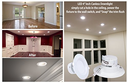 4'' Inch J-Box LED Canless Downlight; 7W=65/75W Equivalent; 40,000 Life Hours; Dimmable to 5%; Wet Location Rated; 5 Year Warranty; 120V; 550 Lumens; CRI>90; Warm White 3000K- (12 PACK) by Quest (Image #2)