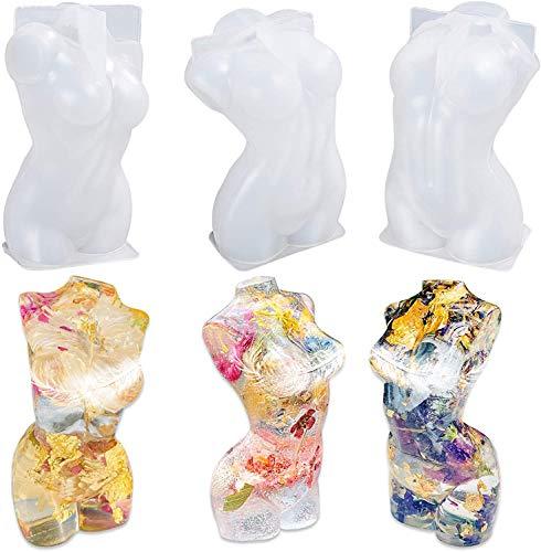 3 Moldes de silicona cuerpo de mujer 3d para resina