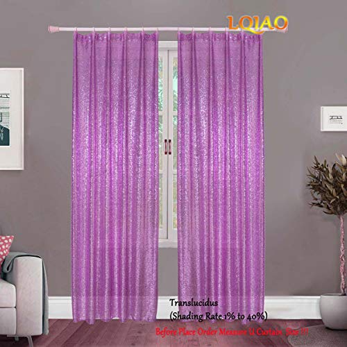 - LQIAO 2019 Lavender Sequin Curtain Panels 50x63in Sparkly Fabric Background Photography Backdrop for Bedroom, Kitchen, Kids Room or Living Room,1 Panel Drapes 50-Inch-by-63-Inch Hooks Top Style