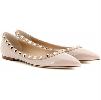 84be14032d2a Valentino Garavani Women s Nude Rivets Flat Shoes (35EU)