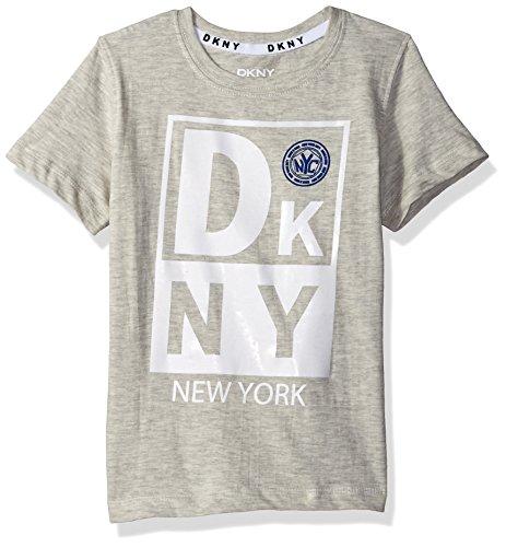 DKNY Boys' Big' Short Sleeve Heather Jersey Crew Neck T-Shirt, Oatmeal, ()