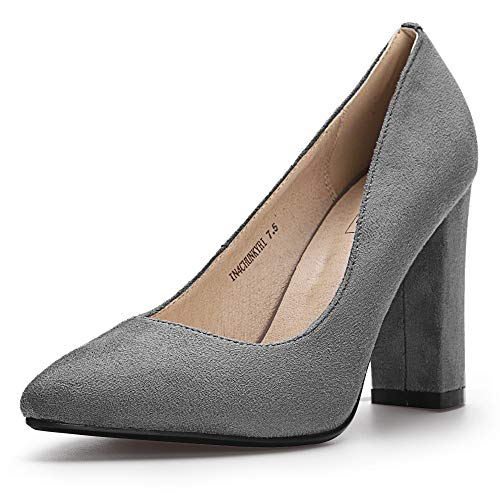 - IDIFU Women's IN4 Chunky-HI Classic Closed Pointed Toe Pumps High Chunky Block Heels Dress Office Shoes (5.5 M US, Gray Suede)