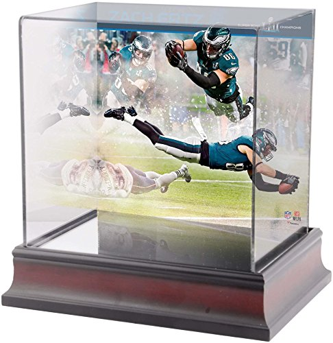 Sports Memorabilia Zach Ertz Philadelphia Eagles Super Bowl LII Champions Deluxe Mini Helmet Case - Football Mini Helmet Free Standing Display ()