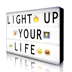 Cinema Light Box with 190 Letters Symbols Emjios- A4 Size Cinematic Light Box DIY LED Letter Lamp for Home Decor/Photo Shoots/ Birthday Party