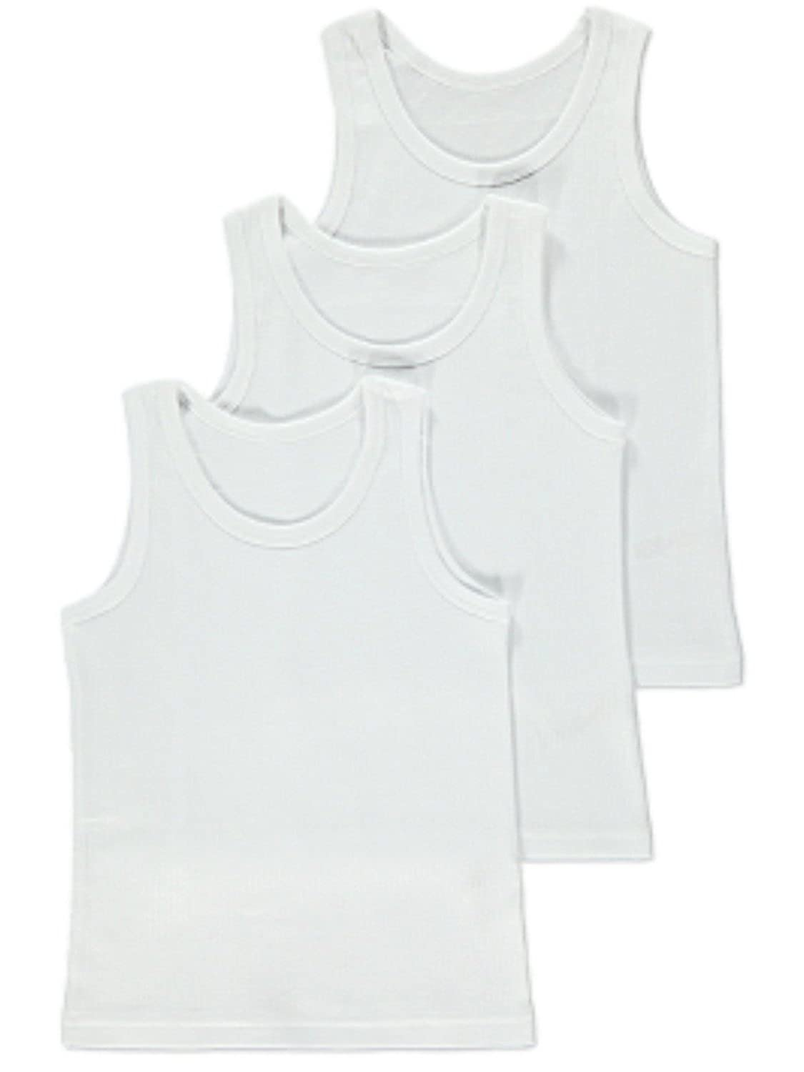 3 Pack Boys 100% Cotton White Vests Singlets Top Sizes 2-8 Years