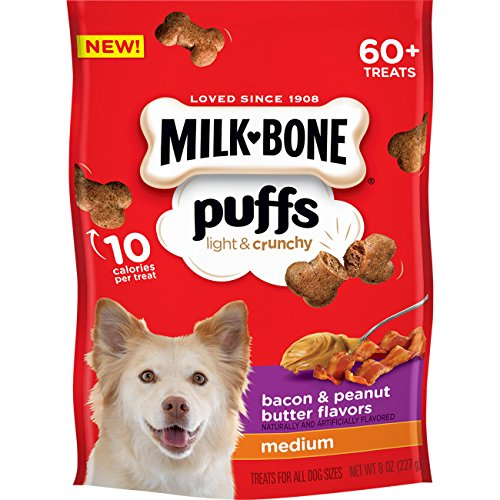 Milk Bone Puffs Peanut Butter And Bacon Dog Treats, 8 Oz (Pack Of 4)