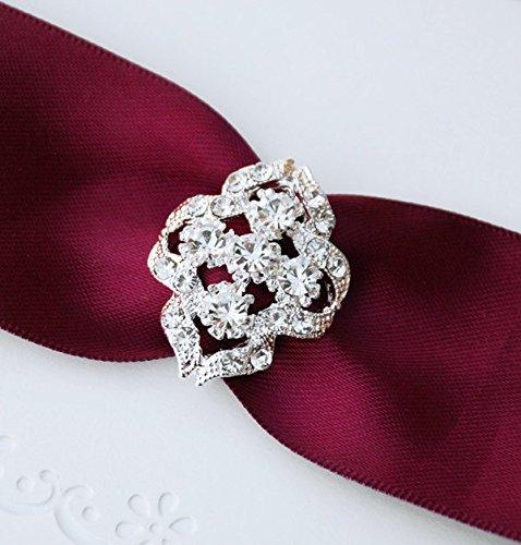 10 pcs Rhinestone Buckle Wholesale Buckle Crystal Slider Silver Wedding Invitation Wedding Supplies Napkin Ring BK060