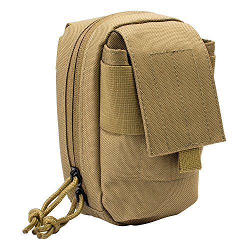 3V Gear MOLLE Tech Pouch - Padded Multiple Pocket Media Pouch for Cameras, Phones, iPods and Other Electronics - Coyote