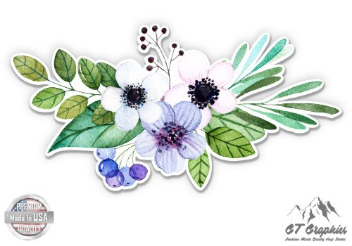 Flowers Helmet - Flower Bouquet Watercolor Boho Artistic - 3