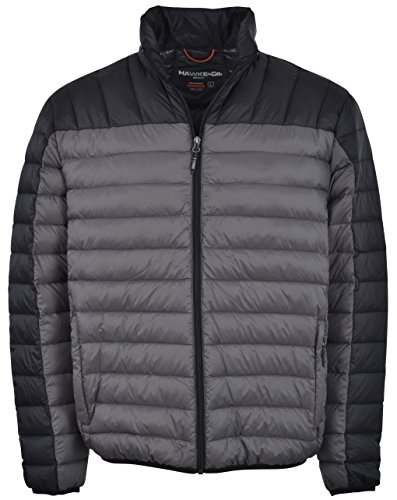 Puffer Mens (Hawke & Co Men's Packable Down Puffer Jacket II (Large, Charcoal/Black))