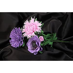 Bouquet Of Handmade Artificial Foamiran Violet And Pink Poppy And Aster Flowers 40