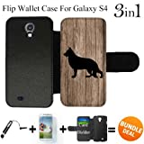 German Shepherd On Wood Custom Galaxy S4 Cases Flip Wallet Case,Bundle 3in1 Comes with Screen Protector/Universal Stylus Pen by innosub
