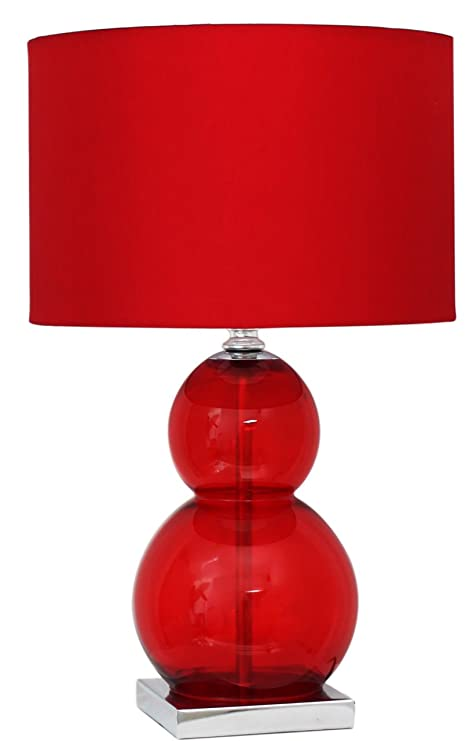 Red Glass Bubble Table Lamp With Red Shade Sold By The