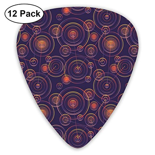 Galactic City Glitter Classic Celluloid Picks, 12-Pack, For Electric Guitar, Acoustic Guitar, Mandolin, And Bass