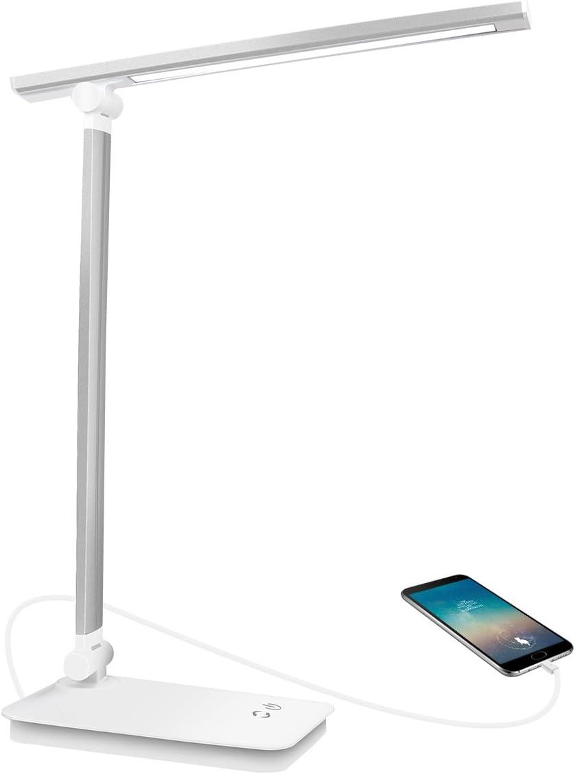 Lámpara Escritorio LED, Lámparas de Mesa USB Regulable Recargable - AUELEK 1800mAh Plegable Luz/Diseño Giratorio/Control Táctil/ 3 Niveles de Brillo/ 5 Temperaturas para Relax, Estudio, Lectura