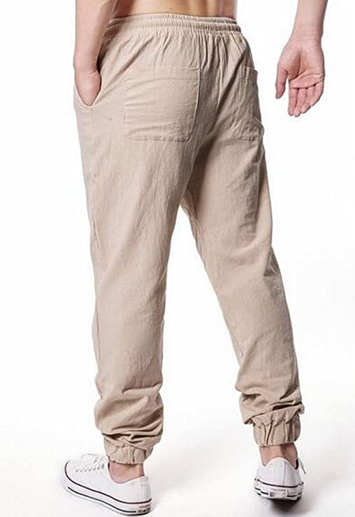 ARTFFEL Mens Cotton Linen Loose Chinese Style Stripe Casual Harem Pants