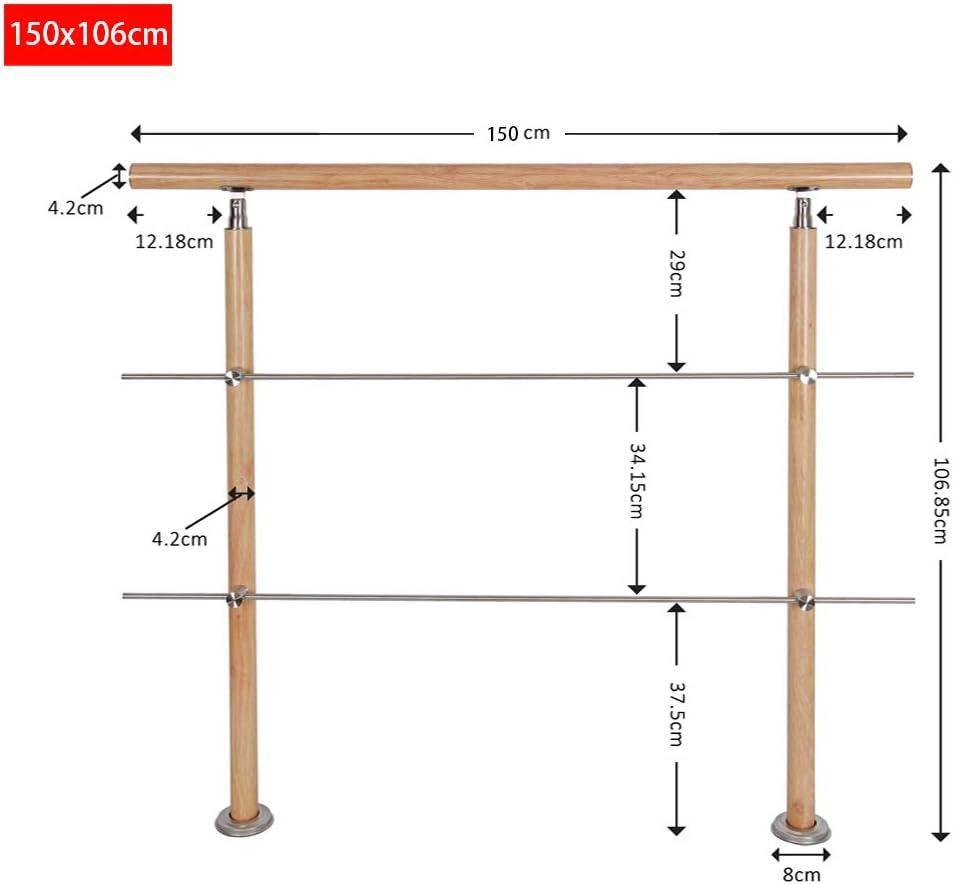 Holzmuster HENGMEI 160cm Treppengel/änder Aluminium und Edelstahl-Handlauf Gel/änder Gel/änderst/äben Terrassengel/änder Bausatz Treppen 160m,3 Querstreben