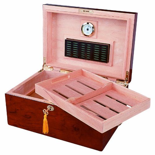 Deauville 100 Cigar Humidor, High Gloss with Tobacco Leaf Inlay, Maple Finish, Holds 100-150 Cigars, by Quality Importers
