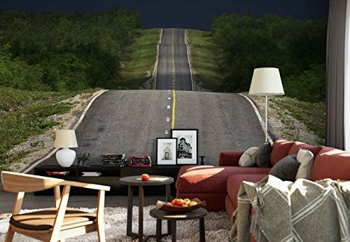 Photo wallpaper wall mural - Undulating Road Line Asphalt - Theme Travel & Maps - L - 8ft 4in x 6ft (WxH) - 2 Pieces - Printed on 130gsm Non-Woven Paper - 1X-10819V4 by Fotowalls Photo Wallpaper Murals