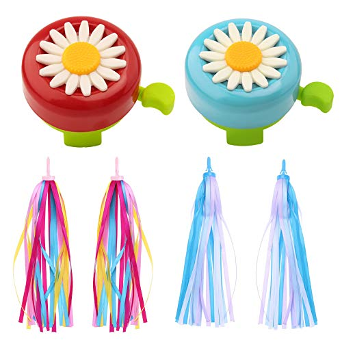 WENTS Kids Bike Accessories 2 Pcs Kids Bike Bell Sunflower Shaped and 4 Pcs Kids Bike Handlebar Tassel Streamers for Boys and Girls (Red, Blue)