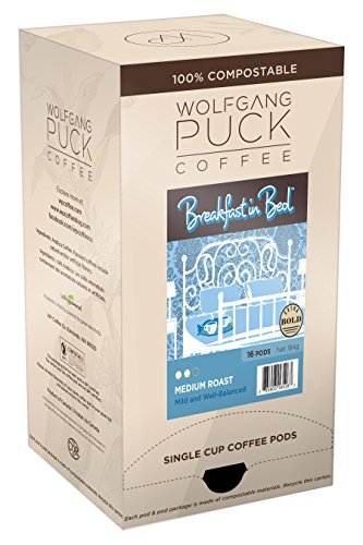 Wolfgang Puck Coffee, Breakfast in Bed Pods, 12 Gram Pods, 16 count