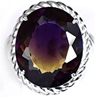 khamchanot 3.8CT Ametrine Ring 925 Silver Ring Vintage Women Man Wedding Cocktail Size 6-10 (8)