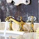 GOWE Luxury Golden Brass Bathroom Brass Basin Faucet Crystal Handles Vanity Sink Mixer Tap