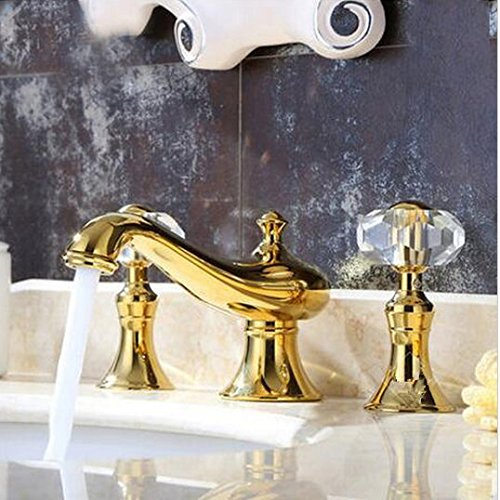 GOWE Luxury Golden Brass Bathroom Brass Basin Faucet Crystal Handles Vanity Sink Mixer Tap by Gowe