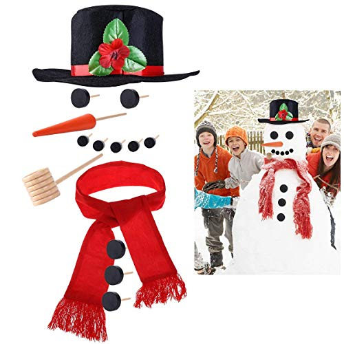 iBaseToy Snowman Kit - Includes Hat Scarf Wooden Carrot-Nose Tobacco Pipe and Black Dots for Eyes Mouth Buttons - Winter Outdoor Fun Toys for Kids Christmas