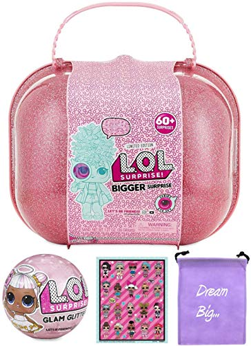 LOL Surprise Bundle Includes (1) Limited Edition Bigger Surprise + (1) Glitter Glam Doll + L.O.L. Sticker Sheet with Compatible Toy Storage Bag!