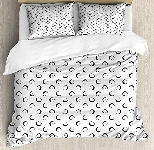 Bruyu5se Half Moon Duvet Cover Set Queen Size - Crescent Stars Arrangement Repetitive Simplistic Pattern on Plain Background - Decorative 3 Piece Bedding Set with 2 Pillow Shams - Dimgray White