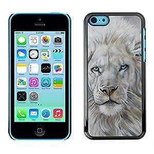 Design for Girls Plastic Cover Case FOR iPhone 5Cs White Lion Snow Painting King Animal Fur OBBA