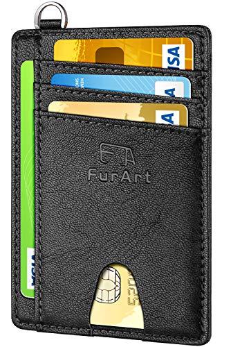 FurArt Slim Minimalist Wallet, Front Pocket Wallets, RFID Blocking, Credit Card Holder with Disassembly D-Shackle (Best Rfid Protection Sleeves)