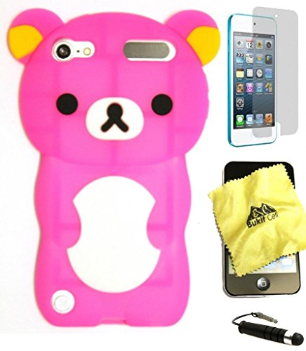 Bukit Cell 3D Cartoon Bundle 4 Items: Hot Pink Bear Soft Silicone Cute Lovely Fun Case for Ipod Touch 6th /5th Generation + Cleaning Cloth + Screen Protector +Bukit Cell Metallic Stylus Pen