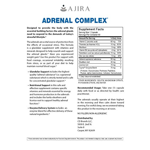 Amazon.com: Ajira Adrenal Support Complex (60 Capsules) Glandular ...
