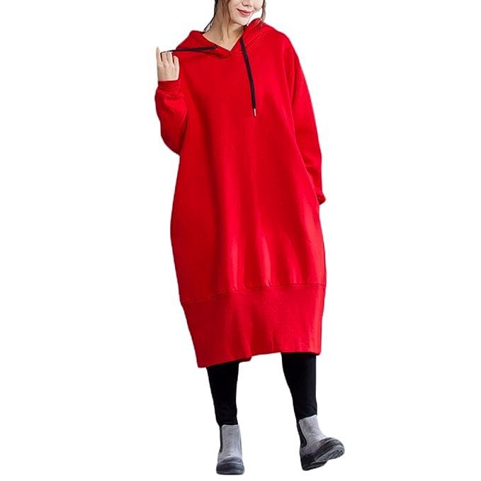 YuanDian Mujer Otoño Invierno Tallas Grandes Baggy Largo Con Capucha Sudadera Vestido Forro De Terciopelo Espesar
