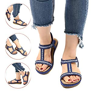 gracosy Summer Flat Sandals for Women, Ladies Slip On Post Thong Shoes Walking Sandals Casual Peep Toe Low Wedge Heel…