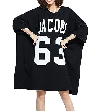 Ellazhu Women Mid Long Personality Hem Solid Oversize T Shirt Ga200 by Ellazhu