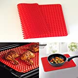 1 Pc Non-stick Silicone Healthy Cooking Baking Mat for Bake Pans & Rolling (Red)