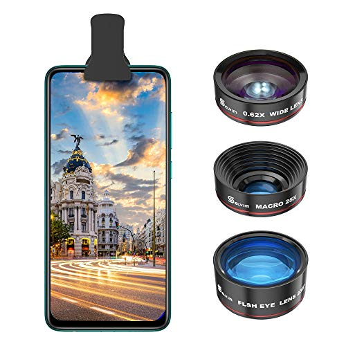 Selvim Phone Camera Lens Kit 3 in 1: 25X Macro Lens, 0.62X Wide Angle Lens & 235° Fisheye Lens, Compatible with iPhone 10 8 7 6 6s Plus X XS XR Samsung